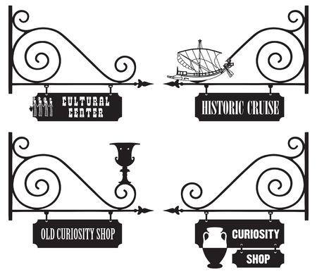 通りの看板の文化的、歴史的な組織、古さおよび骨董品。