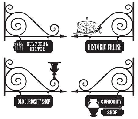 antiquity: Street signage cultural and historical organizations, antiquity and antiques.