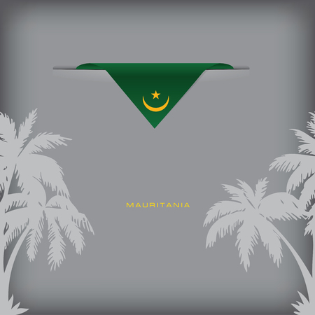 token: Banner Mauritania with the national symbols of the country, and the colors of the flag.