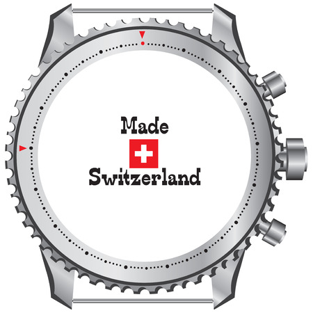 Creative symbol of Made in Switzerland. The theme Swiss watches. 向量圖像