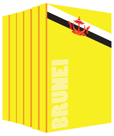 Books about the country of Brunei. Symbol flag. Ilustrace