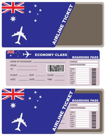 avia: Plane ticket first class in Australia. Illustration