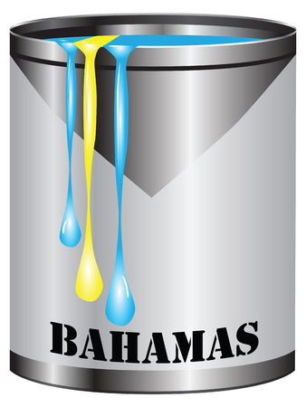 paint can: Paint in a can match the color of the flag of Bahamas. Illustration