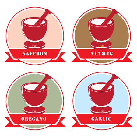 A set of labels for spices. A variety of spices used in cooking. Ilustração