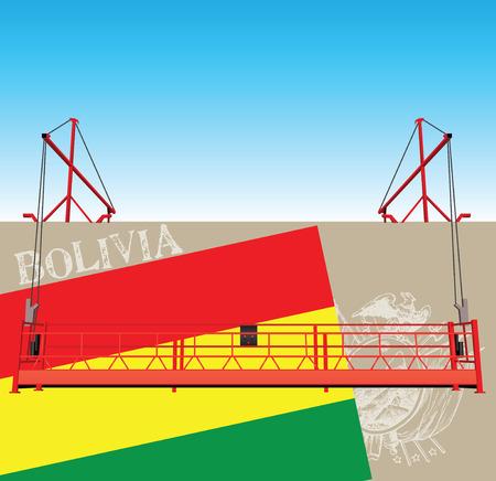 Bolivia symbolen op de muur van de industriële bouw