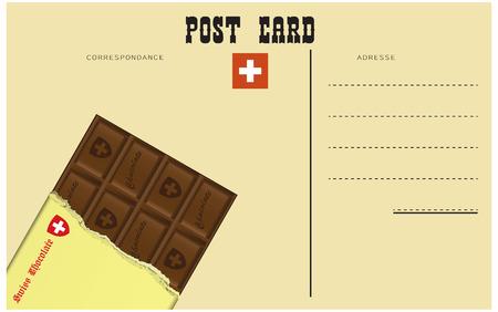 vintage postcard: Vintage Swiss postcard, classic black Swiss chocolate. Illustration