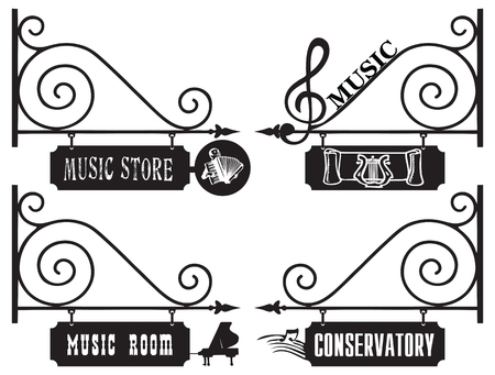 conservatory: Creative street signs for the music room, the shop sells musical instruments and notes, conservatory. Illustration