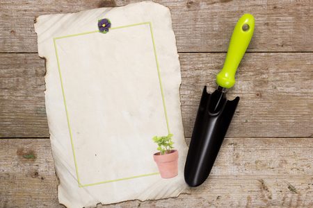 horticulture: Shovel for horticulture and image on a wooden background Stock Photo