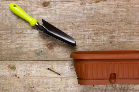 Pot plants and garden tools on a wooden background Banco de Imagens