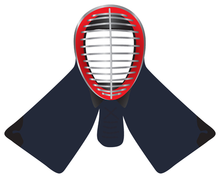 kendo: Mask to protect the face in kendo - men. Illustration