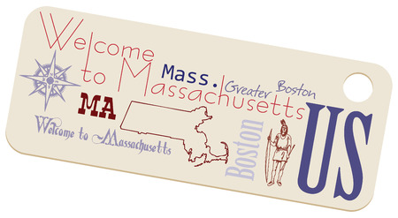 compass rose: Label Welcome to Massachusetts. Massachusetts and the US state symbols on the label. Illustration