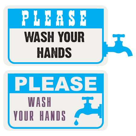 please wash your hands label: Office sign with a request to wash hands. Please Wash Your Hands.