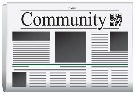 title page: Newspaper Idaho - Community. Title page abstract of the newspaper, with the bar code. Illustration