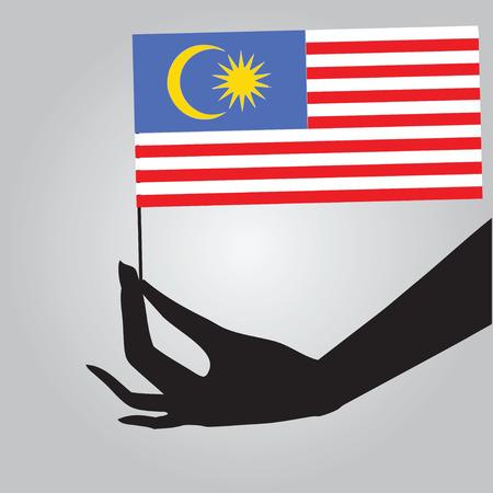 여성의 손에 말레이시아의 국기입니다. 벡터 일러스트 레이 션.