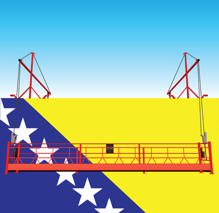 outboard: The wall of the industrial building is painted in the colors of Bosnia and Herzegovina national flag. Illustration