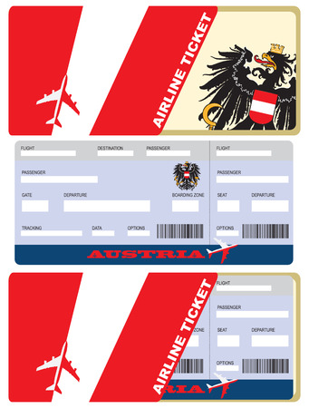 Landing a plane ticket for a flight to Austria. Planting a ticket in an envelope with the symbols of the country.