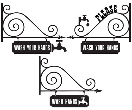 Street sign with the request to wash hands. Please Wash Your Hands Illustration