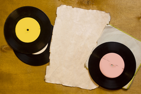 vinyl records: Vintage music vinyl records on a wooden table