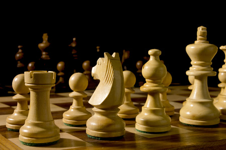 White and black chess pieces on a chessboard Stock Photo - 59048058