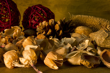 potpourri: Aromatherapy potpourri dried plants and flowers nuts on a wooden background Stock Photo