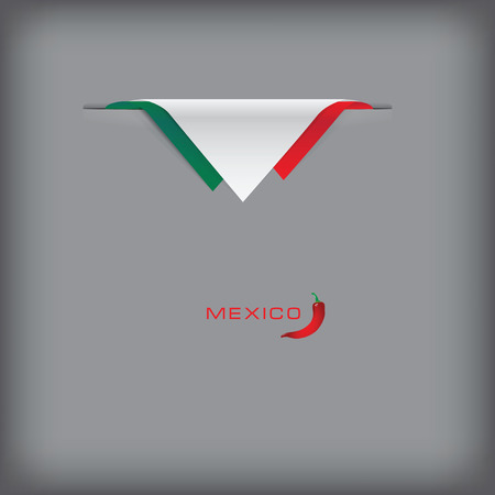 token: Banner with stylized Mexican flag. Vector illustration. Illustration