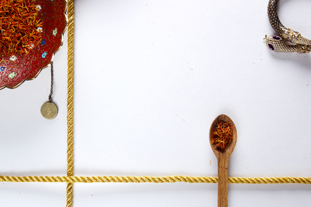 Saffron in a wooden spoon on a white background