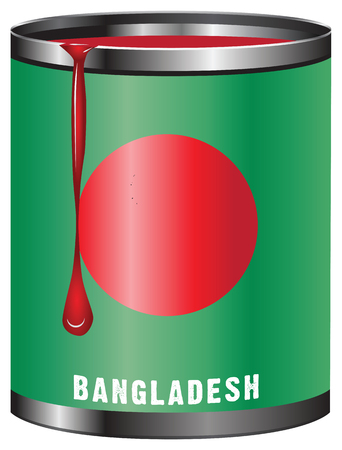 paint tin: Tin with paint, the symbolic color of the flag State of Bangladesh. Illustration