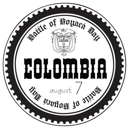 Stamp imprint for the holiday Battle of Boyaca Day Colombia. Illusztráció
