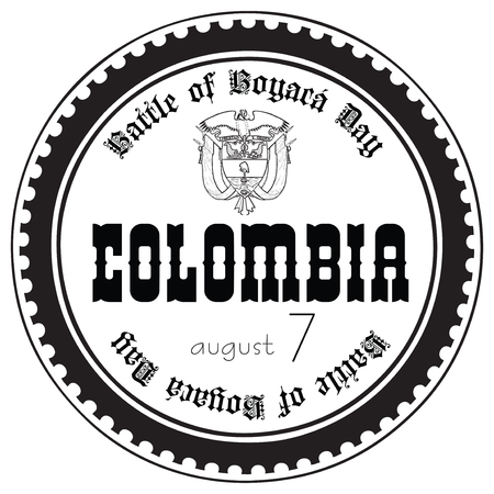 Stamp imprint for the holiday Battle of Boyaca Day Colombia. Illustration