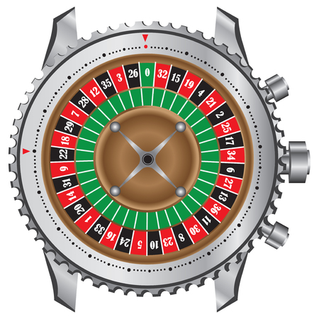 roulette table: Symbolic gaming wheel roulette table in a frame of watches.