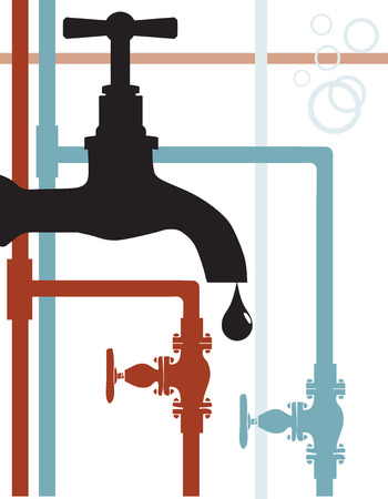 Scheme of water supply connection. The main part - the water tap; system of hot and cold water. Illustration