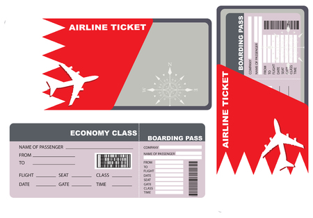 economy class: Economy class ticket for a flight to Bahrain.
