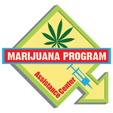 Help Center for people suffering from drug addiction. Marijuana Program. Illustration