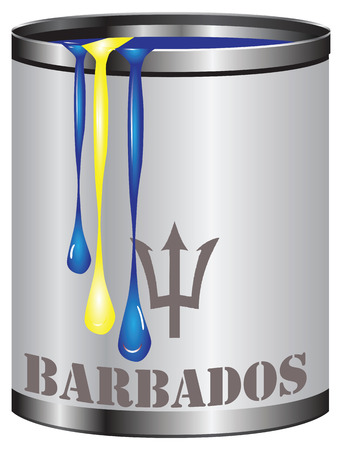 Paint in a can match the color of the flag of Barbados. Illustration