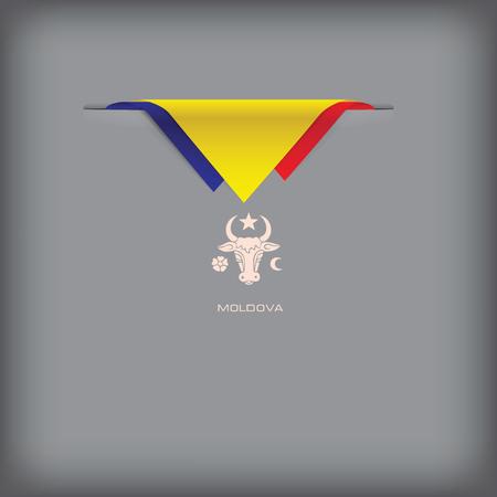 Banner with stylized Moldova flag Illustration