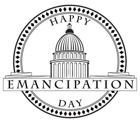 imprint: Stamp imprint with the Capitol - Happy Emancipation Day.