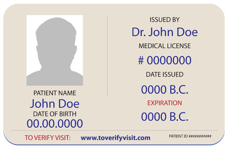 A sample of the patients identification card in a medical facility.