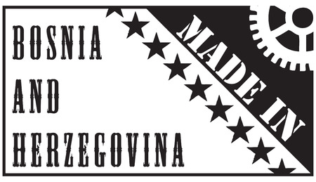 Creative imprint the stamp Made in Bosnia and Herzegovina. Ilustrace