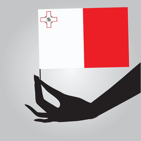 Flag of Malta in a female hand