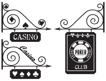 signboard: Street industrial pointer for poker clubs and casinos.