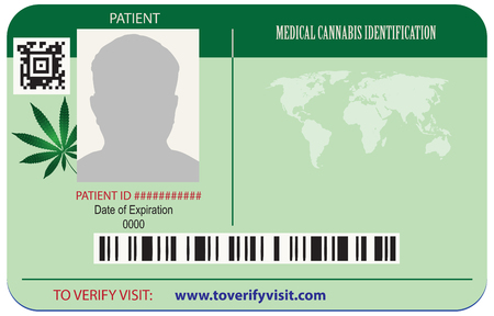 Identification cards in the center of the patients marijuana. Illustration
