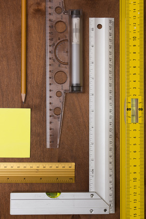 measuring instruments: Measuring Instruments engineer on a wooden background Stock Photo