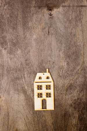 multistory: Model multistory building on a wooden background Stock Photo