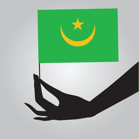 mauritania: Flag of Mauritania in a female hand. Vector illustration.
