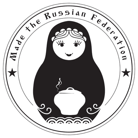grunge rubber stamp: Made the Russian Federation - the creative imprint of the stamp. Industry crafts.