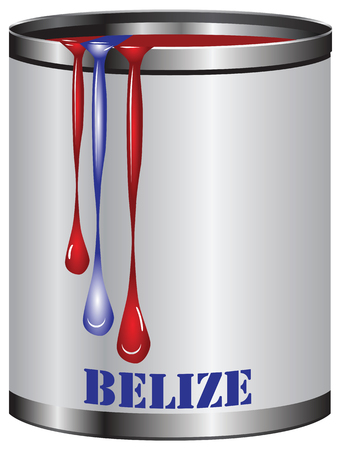 color match: Paint in a can match the color of the flag of Belize.