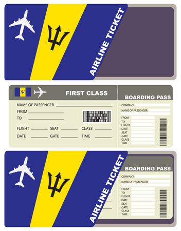 biglietto di prima classe in aereo a Barbados. Vettoriali