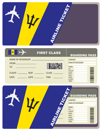 First-class ticket on the plane to Barbados. Illustration