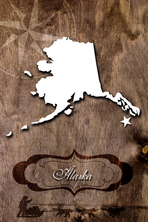 dog sled: The poster for the State of Alaska. Creatively made poster. Stock Photo
