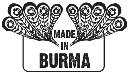 Stamp imprint Made in Burma. Creatively adapted print with peacock feathers. Ilustração
